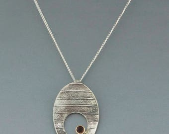 Garnet Stone Set on 14k Gold bezel and Sterling Silver Necklace • Garnet Stone on Oxidized Silver Pendant Gift for Her