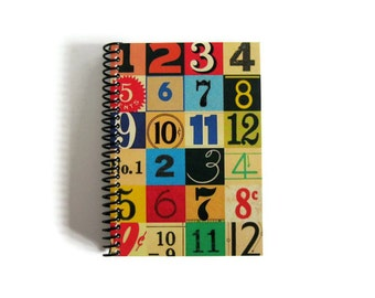 Notebook A6 Spiral Bound Colorful Numbers, Draft Notebook, Back to School, Gifts Under 20, Blank Writing, Diary Pocket Travel Sketchbook