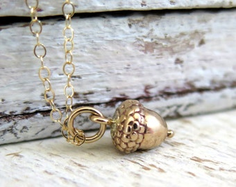 Jewelry Gift Fall, Acorn Necklace, Gold Acorn Necklace, Tiny Gold Acorn Necklace, Nature Jewelry, Woodland