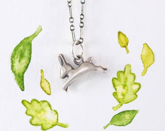 Leaping Bunny Necklace, Completely Handmade by Me in Sterling Silver, Bronze, or 14k Gold / Bunny Pendant / Bunny Charm / Rabbit Necklace