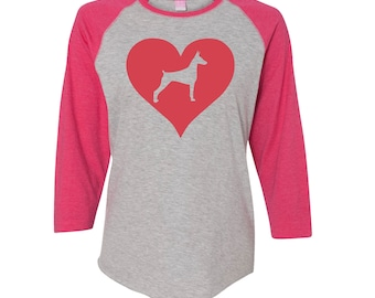 Love Heart Doberman Baseball Shirt. Womens  Raglan Shirt. 3/4 Sleeve Ladies Raglan T-Shirt. Pet Shirt.