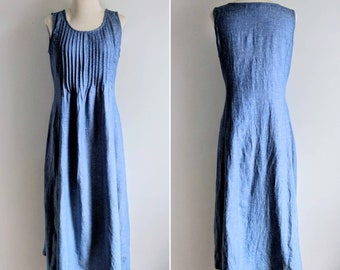 vintage 90's pleated front chambray midi market dress in blue size XS-S