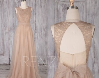 Bridesmaid Dress Pale Khaki Tulle Dress,Wedding Dress,Round Neck Prom Dress,Illusion Lace Backless Maxi Dress,Long A-Line Party Dress(LS479)
