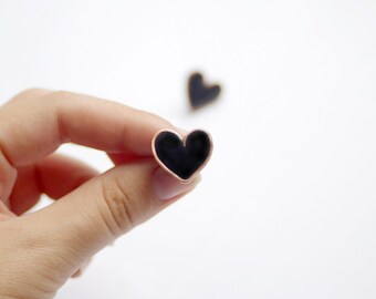 Black heart studs earrings, cute heart earrings, valentines day gift, kawaii earrings
