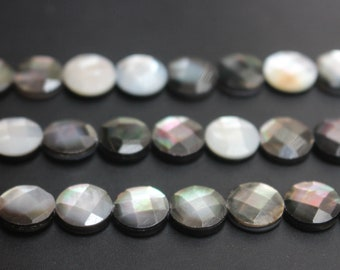 Natural Black shell beads,Coin Faceted Shape black shell beads,loose shell round beads,15 inches full strand