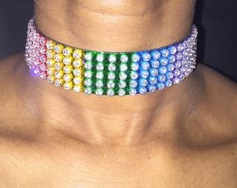 Multicolour Crystal Choker, Multicolour gem choker jewelry, multicolour choker jewellery, choker necklace, rainbow choker Jewelry