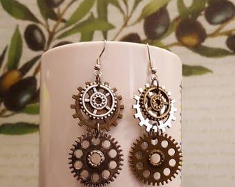 Steampunk, vintage, sprocket, gear earrings