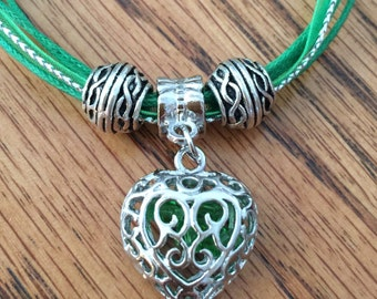 Heart Necklace, Silver Jewelry, Green Necklace, Textile Necklace, Green Jewelry, OOAK Gift, Gift for Her, Birthday Gift, Anniversary Gift