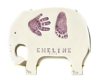 Personalized Baby Gift - Nursery Wall Art - Personalized Nursery Art -  Baby Handprint Gift - Baby Gift - Elephant Print For Nursery - Baby