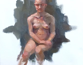 original oil painting 9x12 inch figure sketch