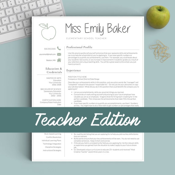 teacher resume template for word  u0026 pages 1 2 and 3 page