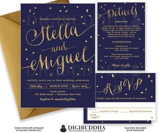 NAVY & GOLD WEDDING Invitation Gold Glitter Confetti 3 Pc Suite RSvP Enclosure Detail Card Invite Free Shipping or DiY Printable- Stella