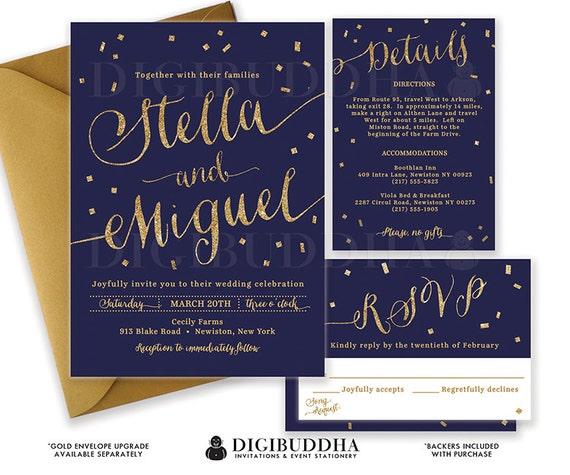 Navy And Gold Wedding Invitations: NAVY & GOLD WEDDING Invitation Gold Glitter Confetti 3 Pc