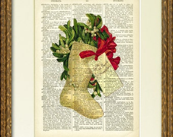Dictionary Art Print - MISTLETOE CHRISTMAS STOCKING - a lovely old illustration on an antique dictionary page- charming Christmas wall decor