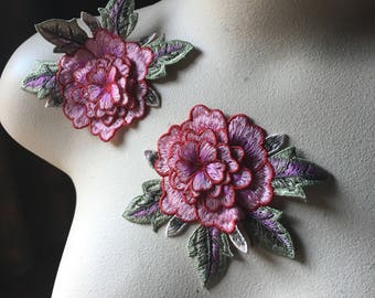 2 3D LACE PINK Appliques Rose Appliques for Garments, Costume Design CA 830rb