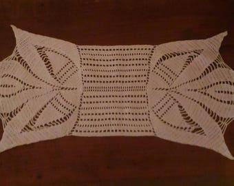 Handmade white 60x25cm, rectangle doily, table runner, crocheted with fine cotton.