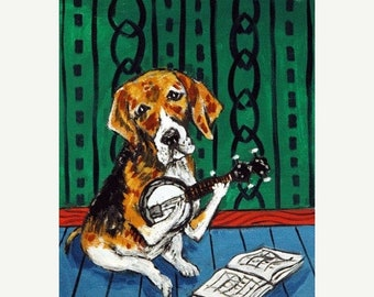 25% off beagle art - Beagle Playing Banjo Dog Art Print - beagle gifts