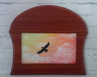 """Original Miniature Painting, """"To Touch the Sky"""", Acrylic on Canvas, Custom Exotic Hardwood Frame"""