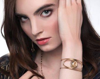 Third Eye Rutilated Quartz Cuff Bracelet, Gold Filled Stone Bracelet, Gold Gemstone Cuff, Open Cuff, Sterling Silver Cuff, Crystal Cuff