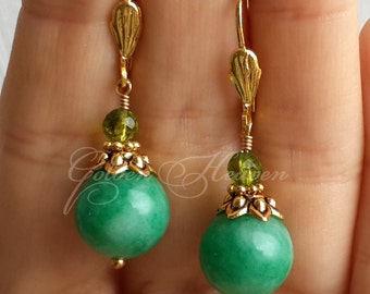 Green Jade Earrings Jade and Peridot earrings Gold Plated Leverback Beautiful Earrings cute gift for her