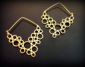 Bubble Earrings, Gypsy Earrings, Hoop Earrings Gold Plated, Boho Earrings, Tribal Jewelry, Statement Earrings, Trendy Jewelry