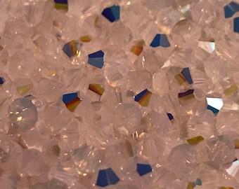 72pc Rose Water Opal ab Swarovski 4mm 5301 Rose Water Opal AB Bicone Crystal Beads