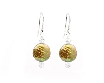Sterling Silver 925 Earrings with Gold Freshwater Coin Pearls and Swarovski Crystals, Excellent for Weddings!!
