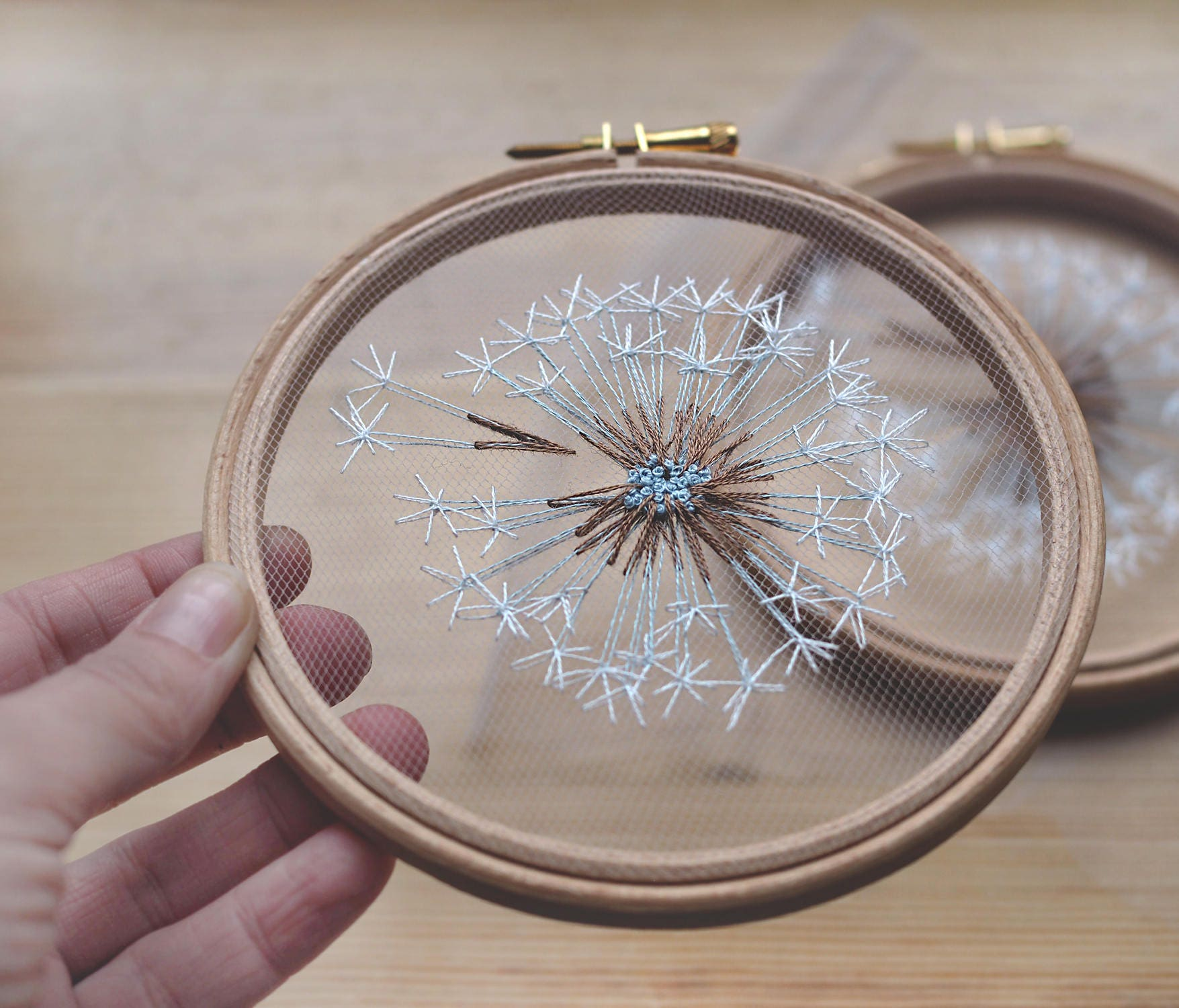 Make a wish dandelion tulle embroidery hoop art bridesmaid