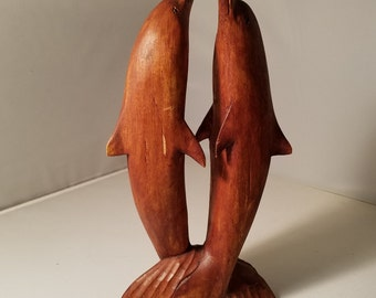 Dramatic DOLPHINS at Play - Hand Wood Carving