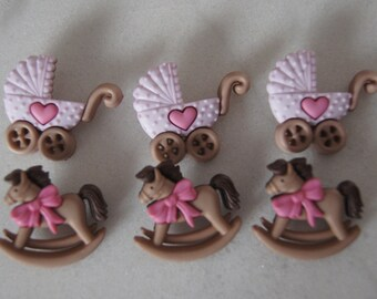 Set of 6 baby girl buttons