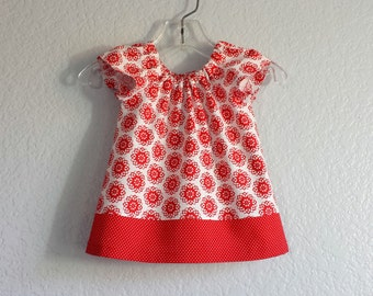 Baby Girls Red Dress and Bloomers - Red Flowers on White - Infant Flutter Sleeve Dress with Bloomers - Size Nb, 3m, 6m, 9m, 12m or 18m