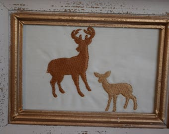 Deer embroidery, framed stag and doe deer embroidery.