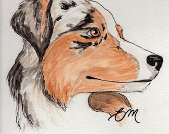 Original Australian Shepherd Watercolor Painting Portrait (9x12): Gift for Aussie Dog Lover