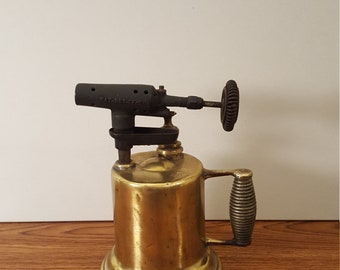 Vintage Brass Blow Torch - Detroit Torch & MFG Co., Steampunk, Blowtorch, Hand Torch, Home Decor, Office Decor, Farmhouse Decor, Old Tools