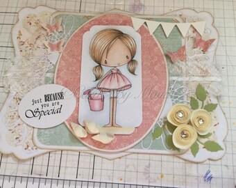 OOAK Handmade Hand Coloured Female Celebration Greetings Card