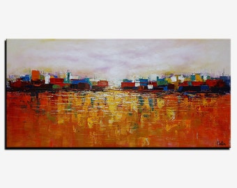 Abstract Landscape Painting, Canvas Art, Framed Art, Large Wall Art, Abstract Art, Abstract Painting, Canvas Painting, Large Art, Wall Art
