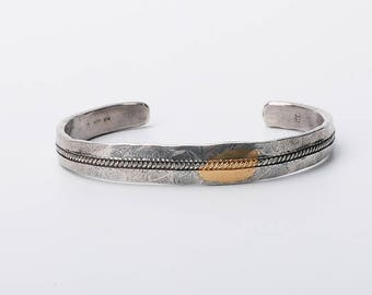 Men Silver Bangle | Silver Men Bracelet | 24K Gold Inlay Bangle | Cable Bracelet Bangle |Oxidized Silver Bracelet |Tribal Silver Bangle Cuff
