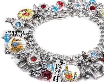 Easter Jewelry, Beatrix Potter, Peter Rabbit, Easter Bracelet, Silver Charm Bracelet, Beatrix Potter Jewelry