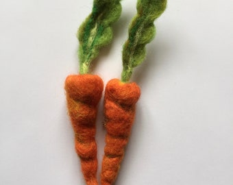 CARROT needle felted vegetable brooch pin badge