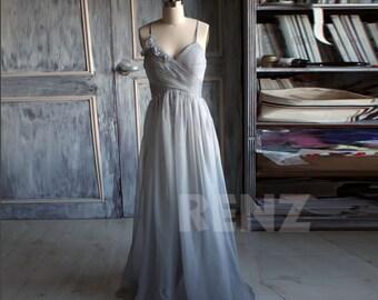 Medium Gray Bridesmaid Dress, Chiffon Gray Prom Dress, Sweetheart Rosette Wedding Dress, A line Backless Formal Dress Floor Length (B085)