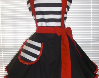 PLUS SIZE Costume Apron Retro Diner Style Apron Black and White Stripes Accented With Red Extra Full Circular Skirt
