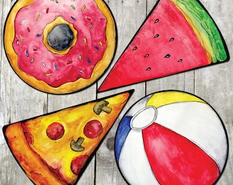 Summertime Props - Plastic Photo Booth Signs - doughnut, pizza, watermelon, beachball