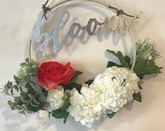 """Metal and wood """"bloom"""" floral hoop"""