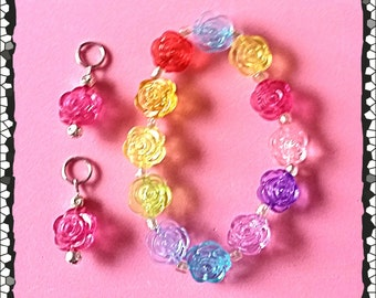 Translucent Acrylic Rose Beaded Bracelet (matching hearing aid charms are available at a bundle price)!