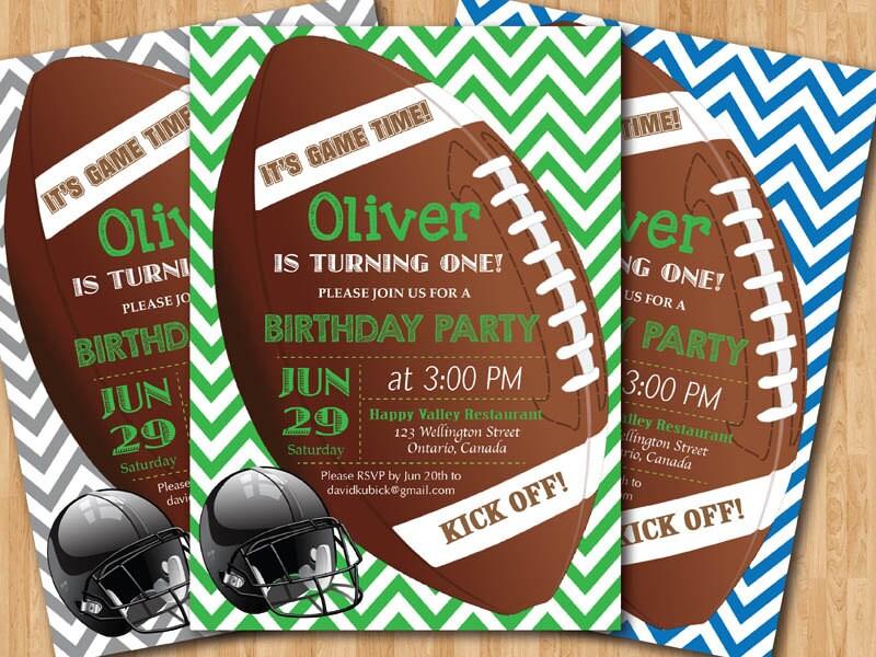 Football birthday invitation. Boy 1st first birthday party