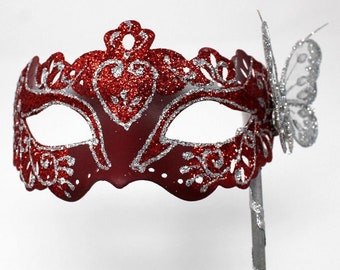 Red and Silver Butterfly Mask on a Silver Stick
