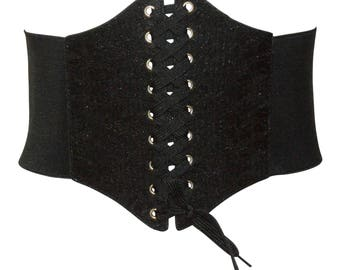 Free size lace mesh front adjustable stretch back corset high waist belt 8 - 14