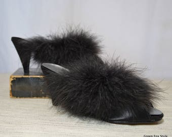 Vintage Oomphies Feathered Pumps size 6