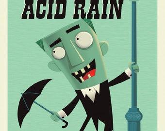 Singing in the Acid Rain -Postcard