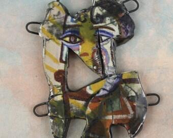 Handmade ceramic glazed pendant neckpiece/connector art beads shard collage decal and painting